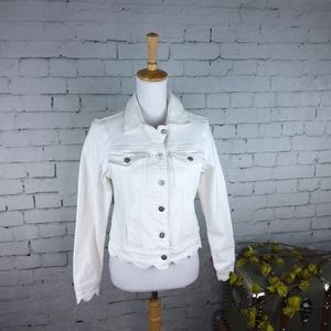 Driftwood Scallop Denim Jacket White  S, M, L, XL